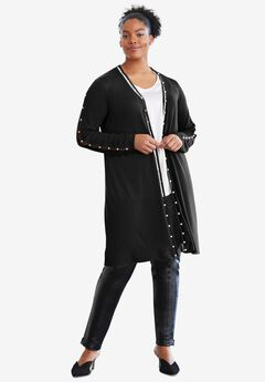 Pearl Trim Sweater Duster, BLACK