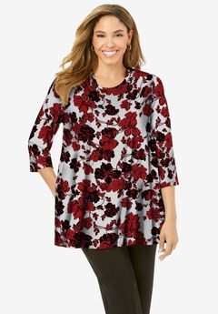Swing Tunic, CLASSIC RED BOUQUET