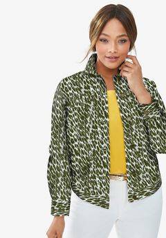 Classic Cotton Denim Jacket, OLIVE GRAPHIC ANIMAL