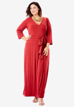 Faux Wrap Maxi Dress, PEPPER RED