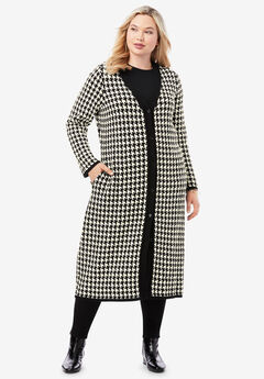 Jacquard Duster, IVORY HOUNDSTOOTH
