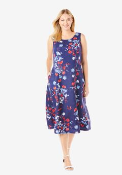 Linen Fit & Flare Dress, NAVY SOFT BOUQUET