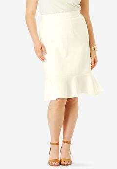 Flounced Bi-Stretch Skirt, IVORY