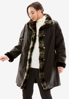 Reversible Faux Fur & Shearling Storm Coat,