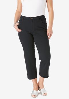 L-Pocket Denim Capris, BLACK