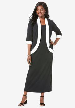 Ponte Jacket Dress, BLACK IVORY