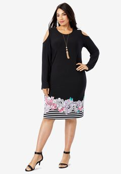 Cold Shoulder Sheath Dress, FLORAL STRIPE PLACEMENT