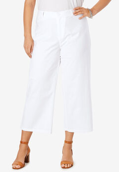 Wide Leg Poplin Crop, WHITE