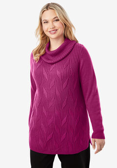 Cotton Cashmere Cowl Neck Sweater,