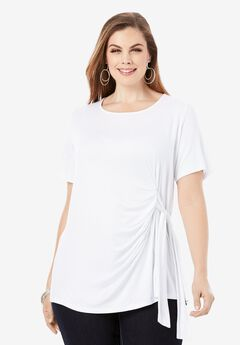 Side-Tie Tee, WHITE
