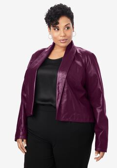 Leather Shrug, DARK BERRY
