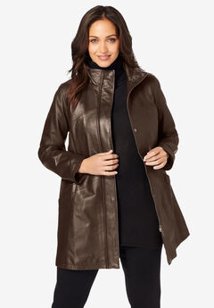 A-Line Zip Front Leather Jacket, CHOCOLATE