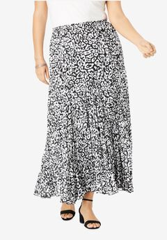 Cotton Crinkled Maxi Skirt, BLACK GRAPHIC ANIMAL