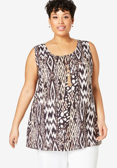 Georgette Tunic Tank, NATURAL ABSTRACT ANIMAL