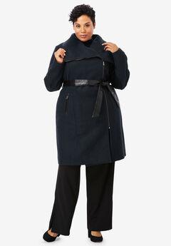 Faux Leather-Trim Coat, BLACK