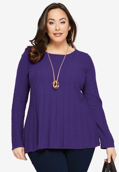 Chevron Fit & Flare Sweater,