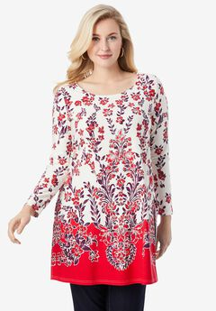 Side-Slit Tunic, RUBY FLORAL BORDER