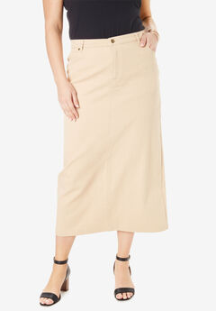 Classic Cotton Denim Long Skirt, NEW KHAKI