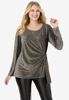 Shimmery Side-Gathered Tunic,