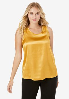 Sleeveless Satin Shell, GOLD