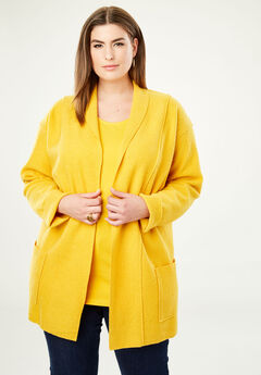 Boiled Wool Shawl Collar Jacket, AMBER YELLOW