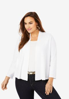 Cardigan Peplum Shrug, WHITE