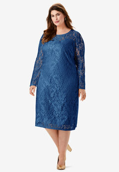 Lace Shift Dress, EVENING BLUE