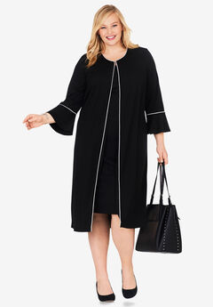 Bell Sleeve Ponte Jacket Dress, BLACK