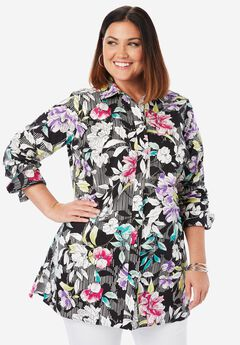Long Sleeve Collared Poplin Tunic, BLACK STRIPE FLORAL