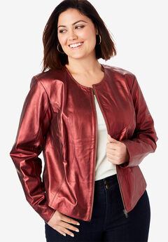 Collarless Leather Jacket, METALLIC WINE