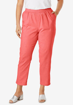 Linen Ankle Pant, SUNSET CORAL