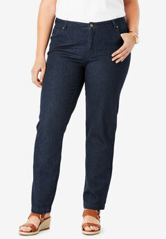 Classic Cotton Denim Straight Jeans, INDIGO