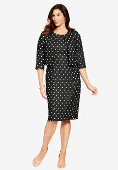 Printed Jacket Dress, BLACK IVORY DOT