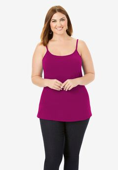Cami Top with Adjustable Straps, RASPBERRY