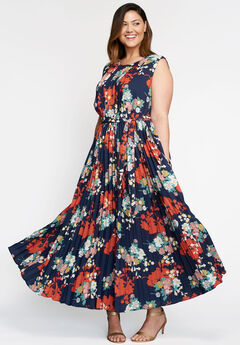 Pleated Maxi Dress, NAVY SHADOW FLOWER