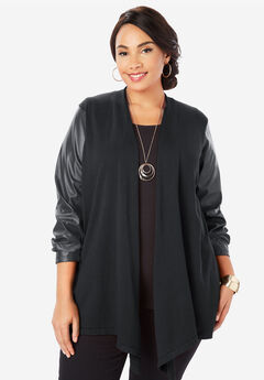 Faux Leather Sleeve Cardigan Sweater, BLACK