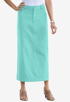 Classic Cotton Denim Long Skirt, ISLAND AQUA