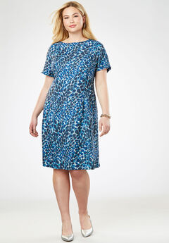 Fit & Flare Dress, BLUE PAINTED ANIMAL