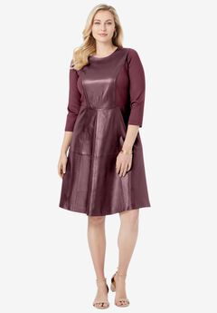 Leather and Ponte Knit Fit & Flare Dress, DEEP MERLOT