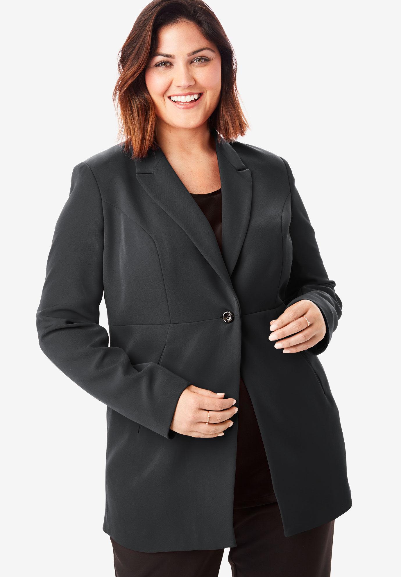 Jessica London Womens Plus Size Petite Wool-Blend Peplum Blazer