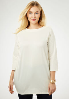 Refined Boatneck Tunic with Goldtone Buttons, IVORY