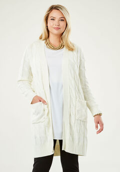 Cable Duster Sweater, IVORY