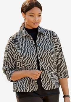 Patterned Knit Crop Jacket,