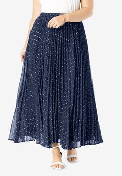 Pleated Maxi Skirt, NAVY DOTS