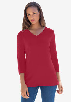 V-Neck Tee, CLASSIC RED