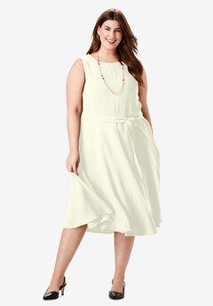 Tie-Waist Fit & Flare Dress, IVORY