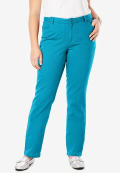 Classic Cotton Denim Straight Jeans, ANTIQUE TURQ