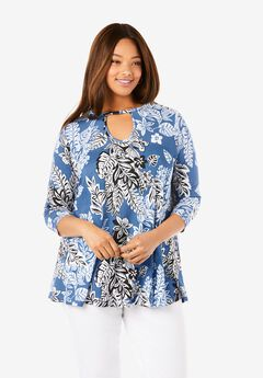 Keyhole Swing Tunic, BLUE LEAF BOUQUET
