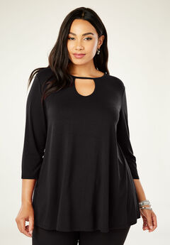Keyhole Swing Tunic, BLACK