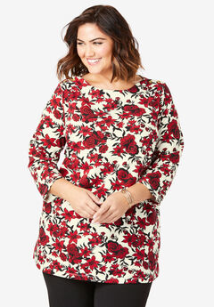 Boatneck Tunic, IVORY OUTLINE FLORAL